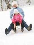 Sledding no tempo de inverno fotografia de stock