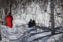 Sledding in noordelijk Minnesota stock afbeelding