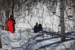 Sledding in northern Minnesota Stock Image