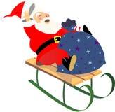 Sledding Santa Imagens de Stock Royalty Free