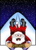 Sledding_santa.jpg Royalty Free Stock Photography