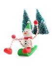 Sledding snowman Royalty Free Stock Image