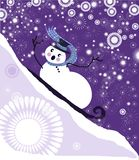 Sledding snowman vector. Funny christmas card of snowman sledding downhill with abstract background vector illustration