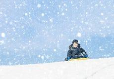 sledding tidvinter Royaltyfria Bilder