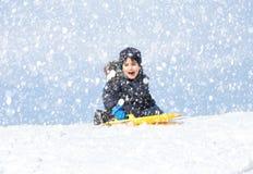 sledding tidvinter Royaltyfri Foto