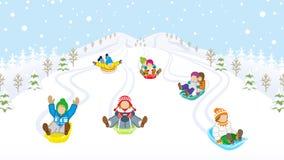 Sledding ungar i snöig berg vektor illustrationer