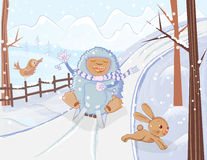 Sledding yeti and a scared bunny winter fun illustration Royalty Free Stock Image