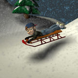 sledding zabawy. Obraz Royalty Free