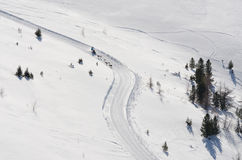 Sleddog Rennen in den Alpen Nockberge-longtrail stockfotos
