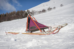Sleddog's sled Stock Photography