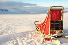 Sledge. A sledge on the snow in the arctic Stock Images