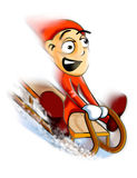 Sledge. Frightened boy on sledge - illustration Royalty Free Stock Photo