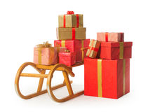 Sledge with Christmas presents Royalty Free Stock Image