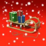 Sledge com presentes e neve. Imagens de Stock Royalty Free