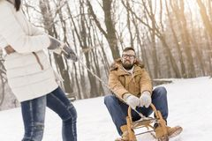 On a sledge Royalty Free Stock Image