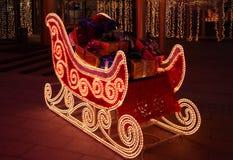 Sledge de Papai Noel com presentes Fotos de Stock Royalty Free