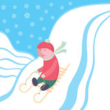 Sledge driving. The child moves down from mountain on sledge. A colour  illustration Stock Image