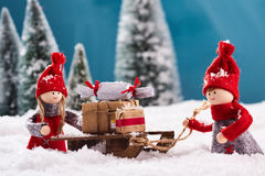 Sledge full of x mas gifts Stock Photography
