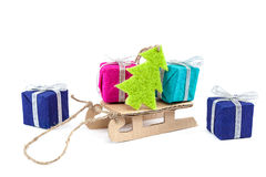 Sledge with gifts and Christmas tree Royalty Free Stock Photo