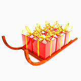 Sledge with gifts isolated over white Stock Image