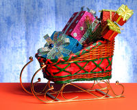Sledge with gifts and toys Royalty Free Stock Photography