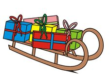 Sledge with gifts. Vector colored icon Stock Photo