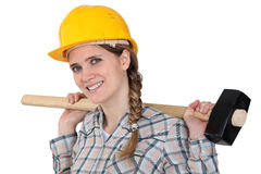 Sledge-hammer over shoulder Royalty Free Stock Image