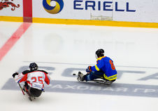 Sledge hockey game moment Stock Photos