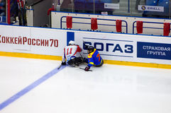 Sledge hockey game moment Stock Images