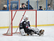 Sledge hockey goaltender royalty free stock image
