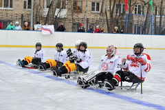 Sledge hockey team Royalty Free Stock Photos