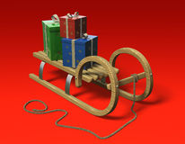 Sledge with presents. Sledge with christmas presents on red background, tilted front Stock Photos