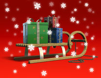 Sledge with presents and snow. Royalty Free Stock Photo