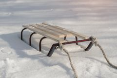 Sledge in Snow, Winter Holidays. royalty free stock images