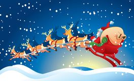 Sledge with Santa Claus. Santa And His Toy Sack In His Sleigh, Being Transported By Magical Reindeer On A Snowy Night . each reindeer and santa claus sledge are Royalty Free Stock Photos