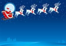 Sledge with Santa Claus. Vector christmas card with flying Sledge with Santa Claus Royalty Free Stock Photos