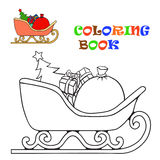 Sledge of Santa Claus. Coloring for kids Stock Photo