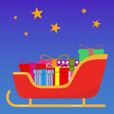 Sledge of Santa Claus with gifts. Flat design,  illustration Stock Photography