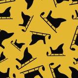 Sledge of Santa seamless on yellow background.  Stock Photos
