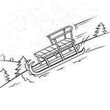 Sledge slide down hill coloring book vector. Sledge slide down hill on snow coloring book vector illustration. Comic book style imitation Stock Photo