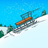 Sledge slide down hill pop art vector illustration. Sledge slide down hill on snow pop art retro vector illustration. Comic book style imitation Stock Photography