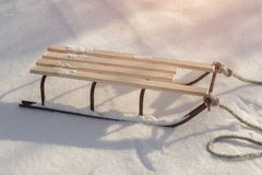 Sledge in Snow, Winter Holidays. stock photography
