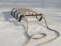 Sledge in Snow, Winter Holidays. stock photo