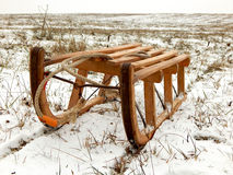 Sledge. A sledge in the snowy hills Royalty Free Stock Photos