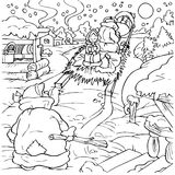 Sledge in a village. Black-and-white illustration (coloring page) with the characters of a folk tale: winter scene with a sledge in a snow-covered village Royalty Free Stock Image