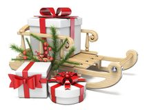 Free Sledge With Christmas Presents And Decorations 3D Stock Photo - 132200490