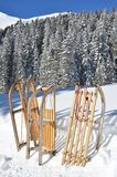 Sledges against snowy Alps Royalty Free Stock Images
