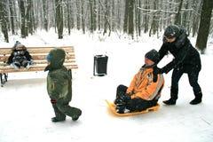 sledging冬天的乐趣 免版税库存图片