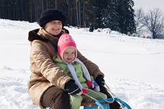 sledging χρονικός χειμώνας Στοκ Φωτογραφίες