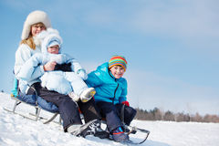 Sledging activities. Healthy sledging activities on the snowy hill Stock Photography